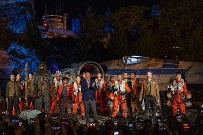 Bob Chapek, chairman, Disney Parks, Experiences and Products, is joined by a cast of Star Wars characters for the official dedication of Star Wars: Rise of the Resistance at Disney's Hollywood Studios, Dec. 4, 2019. Opening to the public Dec. 5, 2019, inside Star Wars: Galaxy's Edge at Walt Disney World Resort in Lake Buena Vista, Fla., the groundbreaking new attraction invites guests into a climactic battle between the Resistance and the First Order in a thrilling Star Wars adventure of galacti
