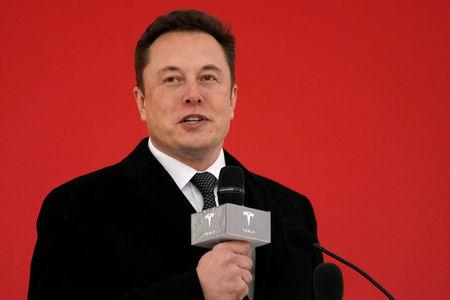 FILE PHOTO:  Tesla CEO Elon Musk attends the Tesla Shanghai Gigafactory groundbreaking ceremony in Shanghai