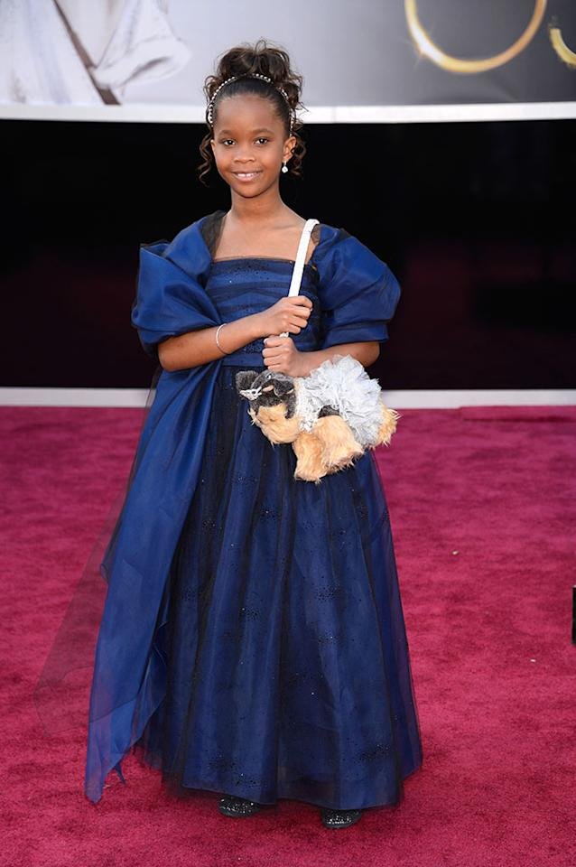 Quvenzhane Wallis arrives at the Oscars in Hollywood, California, on February 24, 2013.