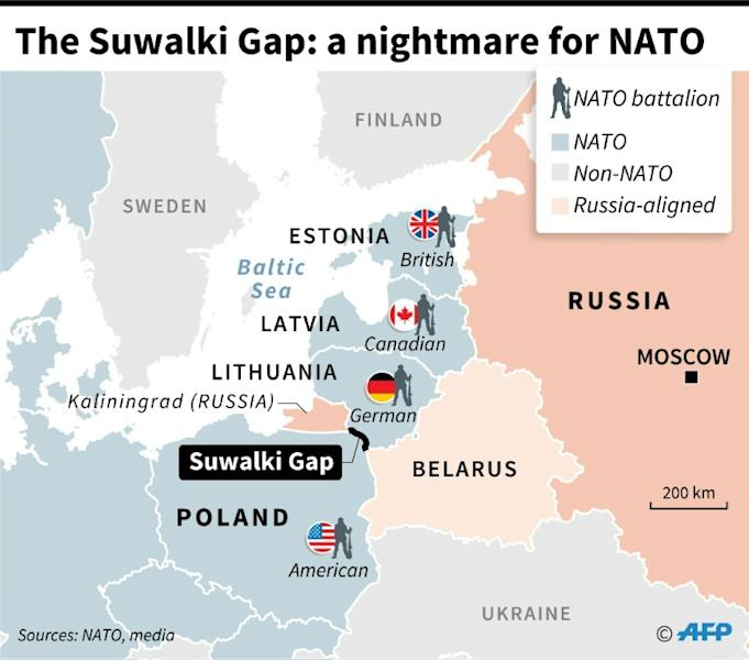 Map of eastern Europe showing the Suwalki Gap in Poland, the 80-km border between NATO members Poland and Lithuania, which is squeezed between Russian territory and Russia-allied Belarus