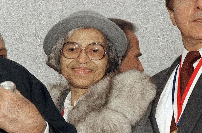 FILE - This Oct. 28, 1986 file photo shows Rosa Parks at Ellis Island in New York. The fight over Parks' estate has her valuable mementos stuck in a New York City warehouse. Martin Luther King's children are quarreling over who owns his Nobel Peace Prize and his Bible. Malcolm X's heirs are suing to block a book deal to publicize his post-Mecca diary, an agreement brokered by one of their siblings.(AP Photo, File)