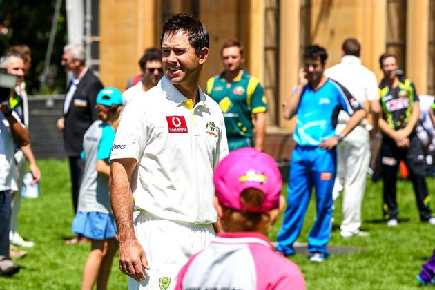 SYDNEY, AUSTRALIA - OCTOBER 15:  Ricky Ponting plays cricket with children before the Cricket Australia season launch at Museum of Contemporary Art on October 15, 2012 in Sydney, Australia.  (Photo by Mark Nolan/Getty Images)