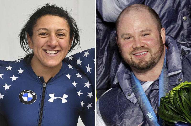 FILE - At left, in a Feb. 4, 2017, file photo, U.S. bobsledder Elana Meyers Taylor celebrates after a women's World Cup race in Innsbruck, Austria. At right, in a Feb. 27, 2010, file photo, U.S. bobsledder Steven Holcomb poses during the medal ceremony at the Vancouver 2010 Olympics in Whistler, British Columbia. Meyers Taylor did not want it this way. She would have much preferred that the first official training run of the U.S. bobsled season would have gone to the person who traditionally was first down the ice for as long as anyone on the national team could remember. Steven Holcomb had that distinction for years. On Wednesday, Oct. 4, 2017, Meyers Taylor took the first run. (AP Photo/File)