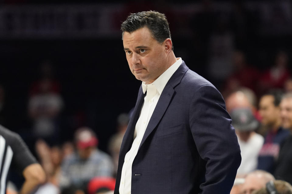 Arizona head coach Sean Miller during the first half of an NCAA college basketball game against Oregon State Thursday, Feb. 20, 2020, in Tucson, Ariz. (AP Photo/Rick Scuteri)