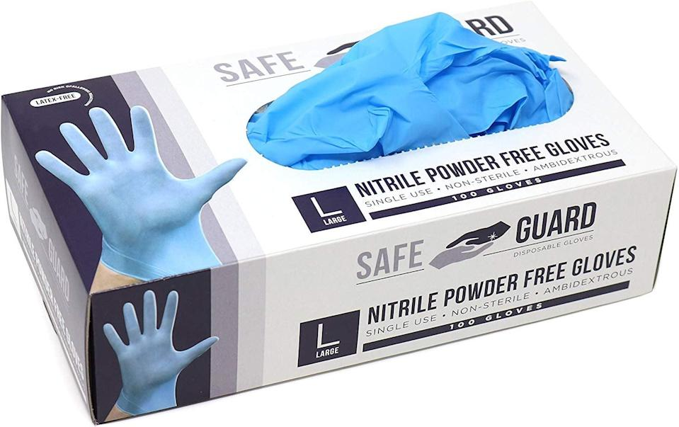 <p>If you feel like being extra secure, use these <span>Safeguard Nitrile Disposable Gloves</span> ($13). We keep a stash on us at all times.</p>