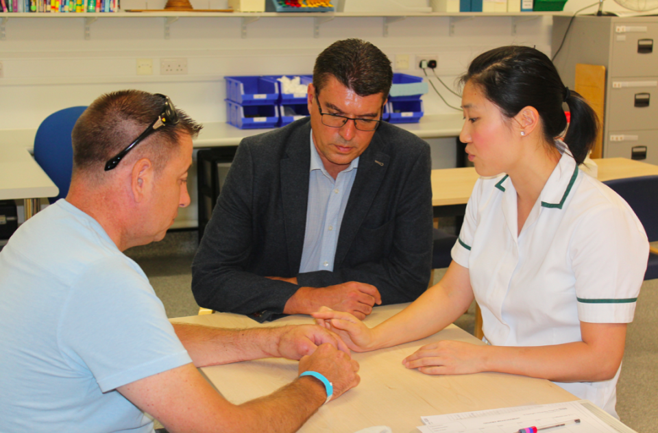 Anthony has already regained some movement in his hand and has regular sessions the hospital's hand therapy team (SWNS)