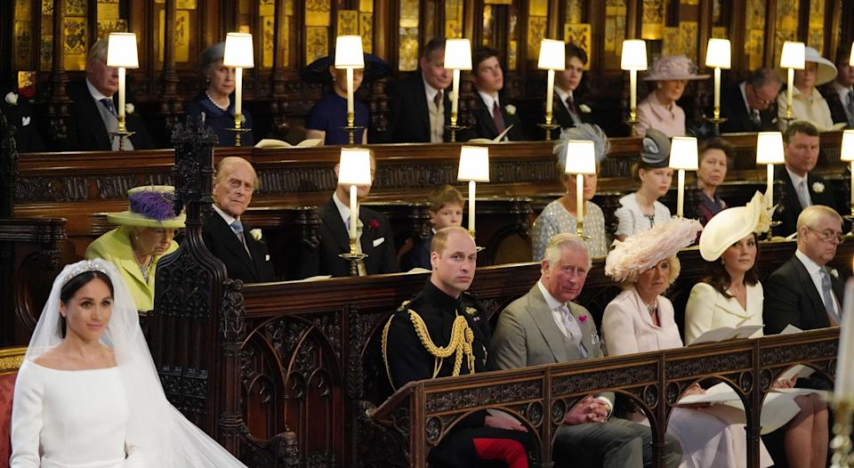 The royal family watch on during the ceremony. (Photo: Getty Images)