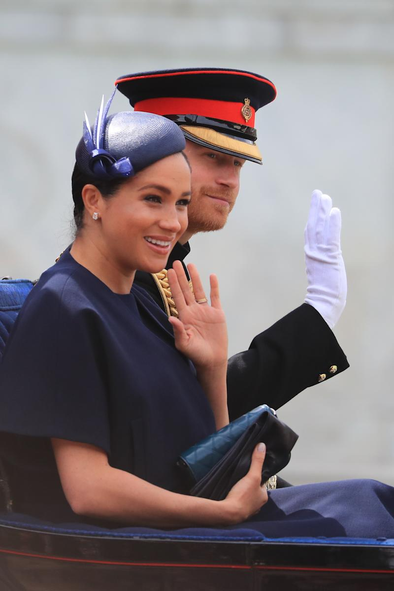 The Duchess of Sussex was spotted wearing a new diamond pavé band at Trooping the Colour [Photo: Getty]