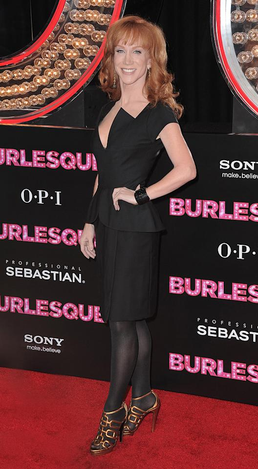 "<a href=""http://movies.yahoo.com/movie/contributor/1800308981"">Kathy Griffin</a> at the Los Angeles premiere of <a href=""http://movies.yahoo.com/movie/1810125282/info"">Burlesque</a> on November 15, 2010."