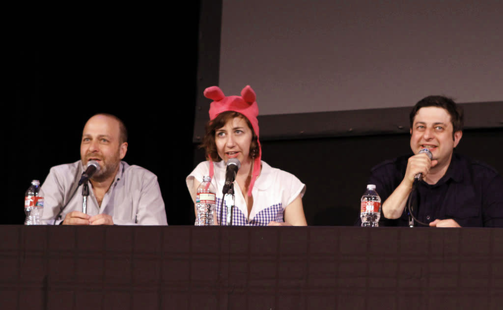 "Cast members H. Jon Benjamin, Kristen Schaal and Eugene Mirman on stage during ""Bob's Burgers Live!"" at the WIlshire Ebell Theatre on Tuesday, May 7 in Los Angeles, CA."