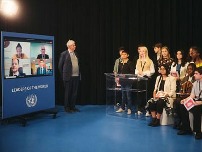 The Children's General Assembly presents their manifesto virtually to members of the UN in New York; Mogens Lykketoft, former President of the UN General Assembly, listens to the children in Billund, Denmark, the Capital of Children.
