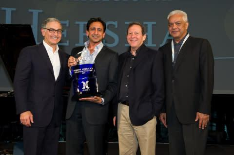 Left to Right: Hyatt Hotels Corporation President and Chief Executive Officer Mark Hoplamazian, Hers ...