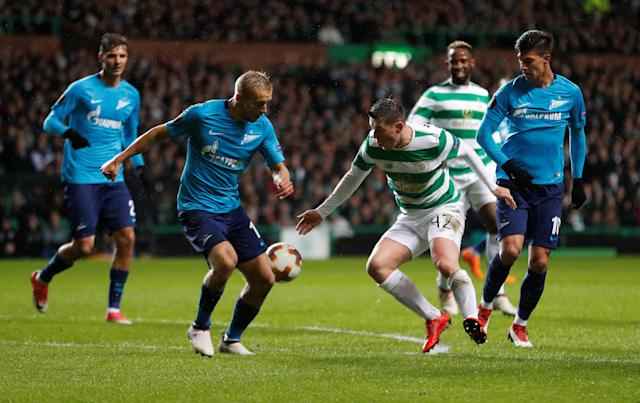 Soccer Football - Europa League Round of 32 First Leg - Celtic vs Zenit Saint Petersburg - Celtic Park, Glasgow, Britain - February 15, 2018 Celtic's Callum McGregor in action with Zenit St. Petersburg's Igor Smolnikov REUTERS/Russell Cheyne
