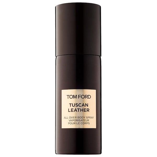 <p>This <span>Tom Ford Tuscan Leather All Over Body Spray</span> ($75) does have a rich leather-and-suede aroma but there are also spicy - thanks to saffron and thyme - and sweet - thanks to jasmine - hints. (Sorry, an <em>actual</em> trip to Tuscany is not included here.)</p>