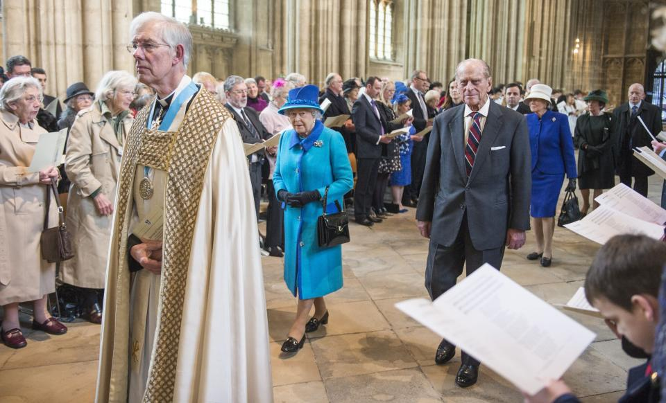 The Queen and Prince Philip at Canterbury Cathedral in Kent as part of the Queen's Diamond Jubilee celebrations in 2012. This jubilee celebrated her 60th anniversary of becoming queen, becoming only the second Royal after Queen Victoria to reach the milestone.