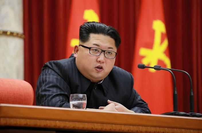 North Korean leader Kim Jong-Un delivers a speech to nuclear scientists in Pyongyang on January 12, 2016 (AFP Photo/)