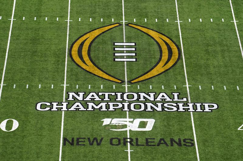Detailed view of the 2020 College Football Playoff National Championship logo at midfield at the Mercedes-Benz Superdome. (Kirby Lee-USAT Sports)