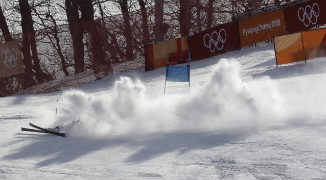 <p>Germany's Alexander Schmid crashes during the first run of the men's giant slalom at the 2018 Winter Olympics in Pyeongchang, South Korea, Sunday, Feb. 18, 2018. (AP Photo/Michael Probst) </p>