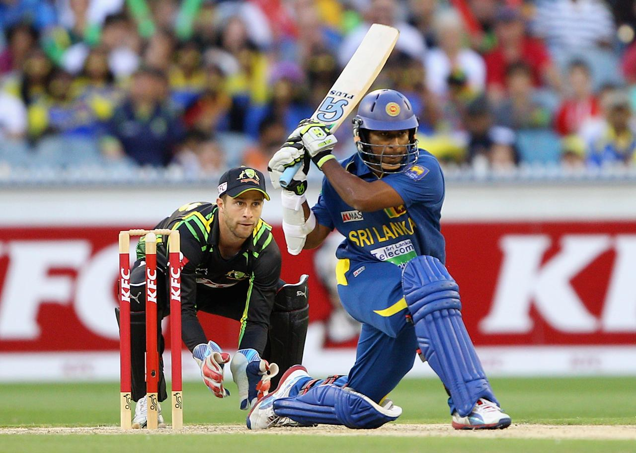 MELBOURNE, AUSTRALIA - JANUARY 28:  Jeevan Mendis of Sri Lanka plays a shot during game two of the Twenty20 International series between Australia and Sri Lanka at Melbourne Cricket Ground on January 28, 2013 in Melbourne, Australia.  (Photo by Robert Prezioso/Getty Images)
