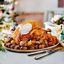 """<p>Our easiest ever centrepiece <a href=""""https://www.goodhousekeeping.com/uk/christmas/christmas-recipes/a551180/christmas-butter-turkey-with-white-wine-gravy/"""" rel=""""nofollow noopener"""" target=""""_blank"""" data-ylk=""""slk:turkey"""" class=""""link rapid-noclick-resp"""">turkey</a>, sure to wow your guests. Swap the cider for apple juice and stock, if you like.</p><p><strong>Recipe: <a href=""""https://www.goodhousekeeping.com/uk/food/recipes/a30252786/cider-roast-turkey-with-gravy/"""" rel=""""nofollow noopener"""" target=""""_blank"""" data-ylk=""""slk:Cider Roast Turkey with Gravy"""" class=""""link rapid-noclick-resp"""">Cider Roast Turkey with Gravy</a></strong></p>"""