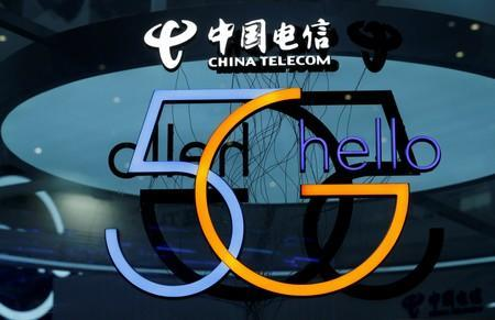 FILE PHOTO: A sign of 5G is pictured at the booth of China Telecom during an internet expo at the fifth WIC in Wuzhen