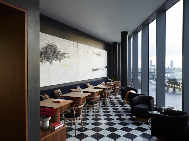 The space maximizes views of London, as seen here in an area meant for lounging.