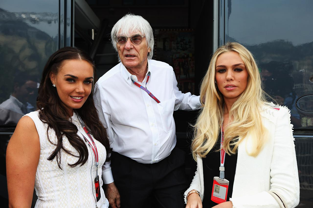 MONTE CARLO, MONACO - MAY 27:  F1 supremo Bernie Ecclestone is seen at his motorhome with his daughters Tamara Ecclestone (L) and Petra Ecclestone (R) before the Monaco Formula One Grand Prix at the Circuit de Monaco on May 27, 2012 in Monte Carlo, Monaco.  (Photo by Mark Thompson/Getty Images)
