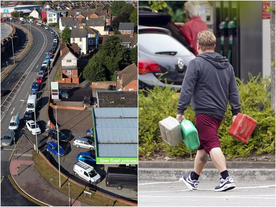 Lines of cars amid UK fuel shortage
