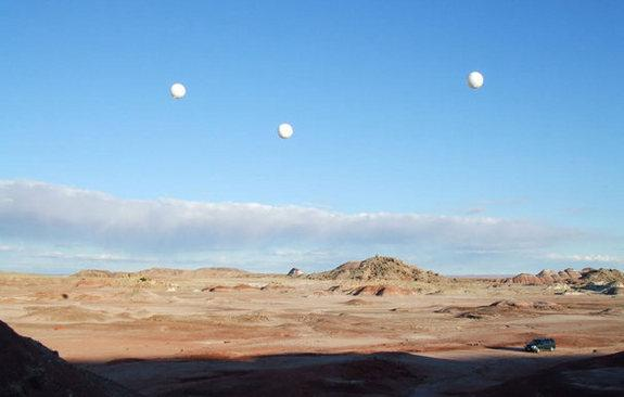 Tethered balloons help test concepts for a space elevator at the Mars Desert Research Station in southern Utah in 2006.