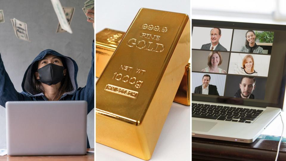A masked person throwing money in the air, two gold bars and a computer showing a video conference meeting.
