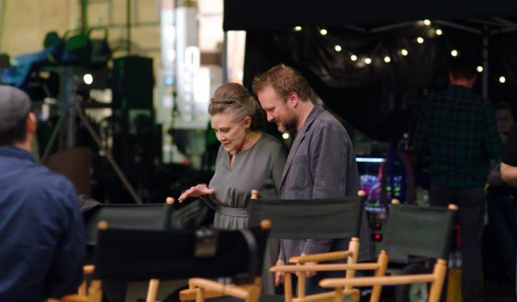 Carrie Fisher and Rian Johnson on the set of Star Wars: The Last Jedi - Credit: Lucasfilm