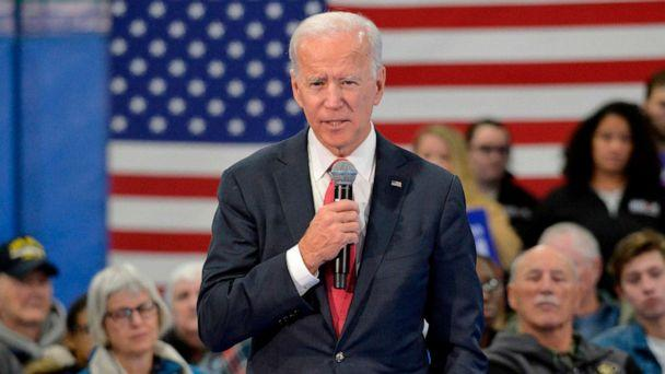 PHOTO: Democratic presidential hopeful former Vice President Joe Biden speaks during a town hall at the Proulx Community Center in Franklin, N.H., Nov. 8, 2019. (AFP via Getty Images, FILE)