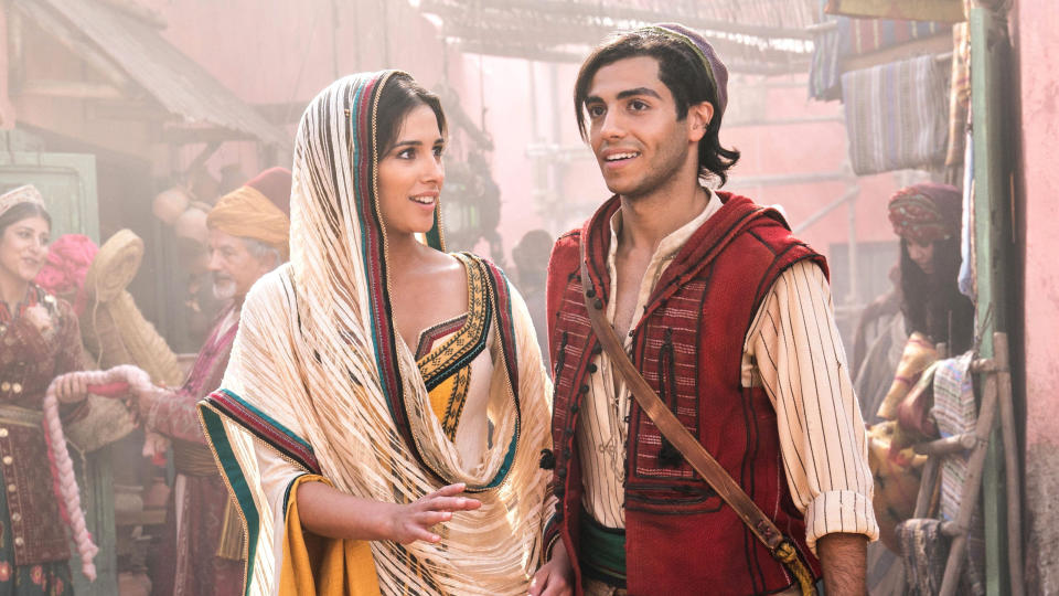 Naomi Scott and Mena Massoud in Guy Ritchie's 2019 take on 'Aladdin'. (Credit: Disney)