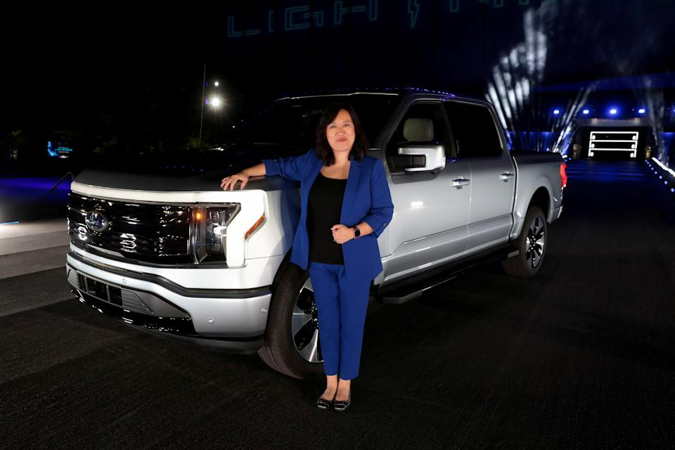 FILE PHOTO: Unveiling of the all-electric Ford F-150 Lightning pickup truck, in Dearborn