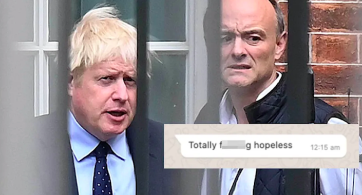 Dominic Cummings has published screengrabs of WhatsApp messages he claims were from Boris Johnson. (Getty/Dominic Cummings)