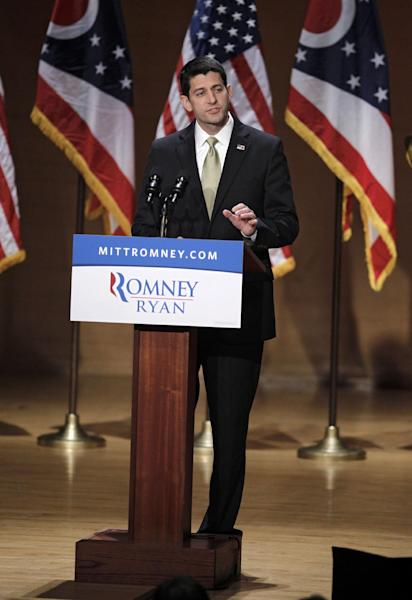 Republican vice presidential candidate Rep. Paul Ryan, R-Wis. gestures while speaking about upward mobility and the economy during a campaign rally at the Walter B. Waetjen Auditorium at Cleveland State University, Wednesday, Oct. 24, 2012, in Cleveland. (AP Photo/Tony Dejak)