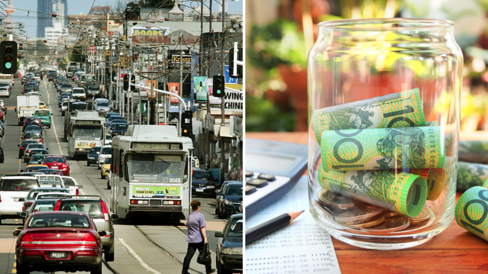 Pictured: Busy Australian street, Australian coin jar. Images: Getty