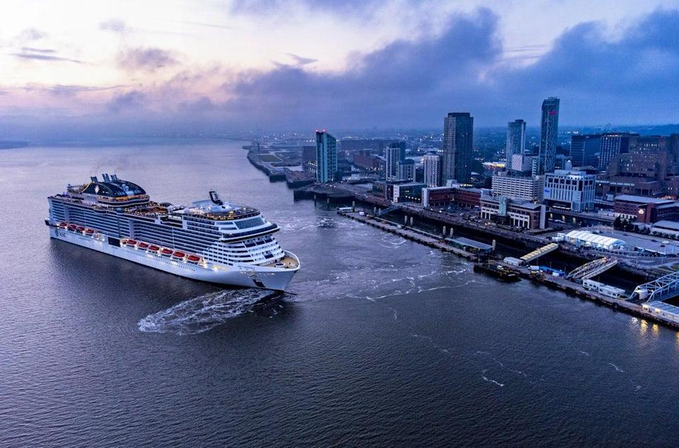 The MSC Virtuosa cruise ship leaves Liverpool Cruise Terminal (Pete Byrne/PA) (PA Wire)