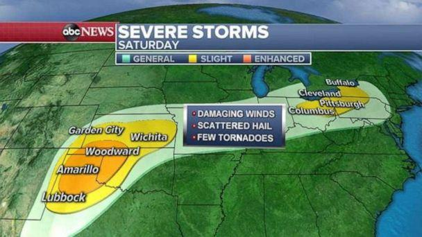 PHOTO: Severe storms are possible Saturday in the Southern Plains and the Great Lakes. (ABC News)