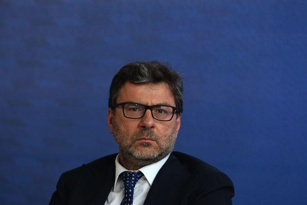 ROME, ITALY - JUNE 09:   Italy's Minister of Economic Development Giancarlo Giorgetti attends a press conference during the 'Casa Azzurri' at pratibus district on June 9, 2021 in Rome, Italy.  (Photo by Paolo Bruno/Getty Images) (Photo: Paolo Bruno via Getty Images)