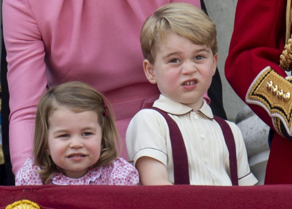"""<p><a href=""""https://www.goodhousekeeping.com/life/news/g4441/10-times-prince-george-looked-completely-bored/"""" rel=""""nofollow noopener"""" target=""""_blank"""" data-ylk=""""slk:Another year at the Trooping the Colour"""" class=""""link rapid-noclick-resp"""">Another year at the Trooping the Colour</a>, another set of hilariously meme-able pictures from the two siblings. Here, Prince George appears very much over the festivities happening in front of him while his younger sis looks equally bored. Can't you see that the two<em> really</em> just want to go back home and play?!</p>"""