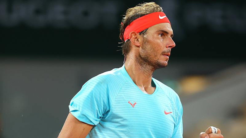 Rafael Nadal is pictured after defeating Jannik Sinner to progress to the French Open semi-finals.