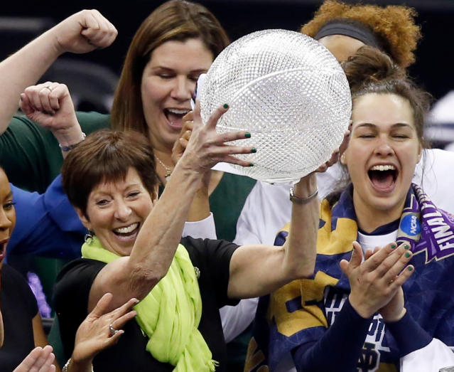 FILE - In this April 1, 2018, file photo, Notre Dame head coach Muffet McGraw celebrates after defeating Mississippi State in the final of the women's NCAA Final Four college basketball tournament in Columbus, Ohio. McGraw abruptly retired Wednesday, April 22, 2020, stepping down from Notre Dame after a Hall of Fame coaching career that includes two national championships in 33 seasons. (AP Photo/Ron Schwane, File)