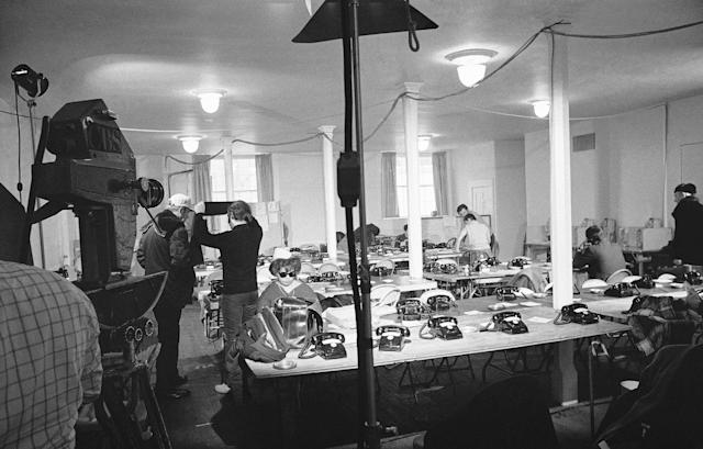 <p>This is the special press room setup in the basement of the Methodist church on Jan. 4, 1970 at Edgartown where a corps of newsmen will use the facilities for coverage of inquest into the death of Mary Jo Kopechne who died July 18, 1969, when Sen. Edward Kennedy's car plunged into a Martha's Vineyard pond. (Photo: AP) </p>