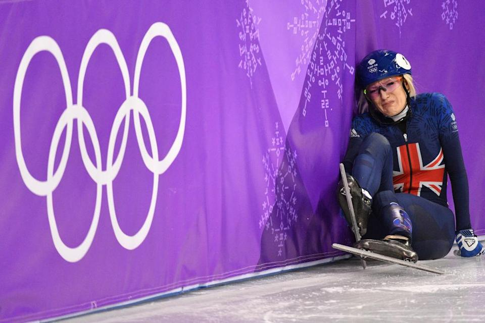 Elise Christie in agony. (Getty)