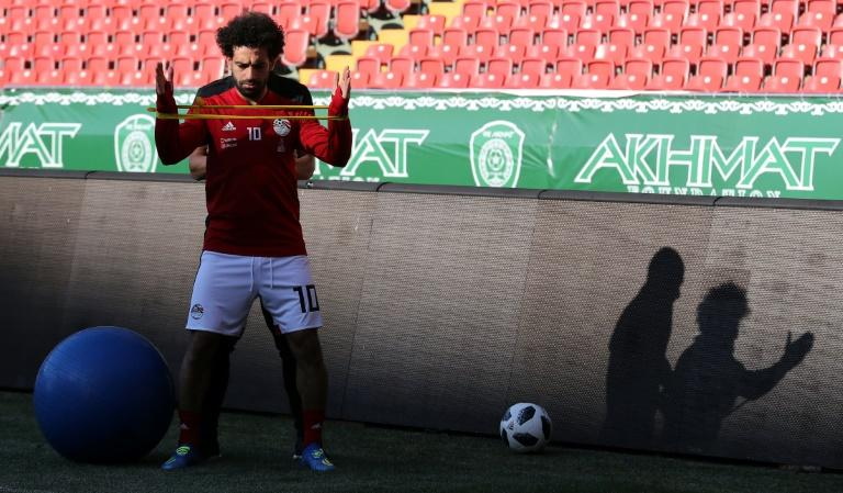 Egypt forward Mohamed Salah takes part in a training session at the Akhmat Arena stadium in Grozny on June 12, 2018, ahead of the Russia 2018 World Cup