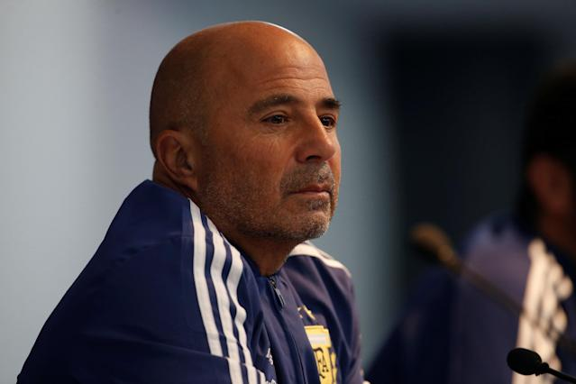 Soccer Football - Argentina Press Conference - Etihad Stadium, Manchester, Britain - March 22, 2018 Argentina coach Jorge Sampaoli during the press conference Action Images via Reuters/Craig Brough