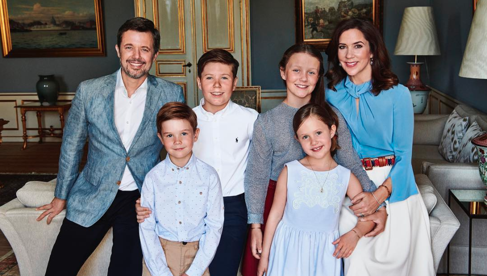 <p>May 2018: In celebration of his 50th birthday, Crown Prince Frederik released this photo with his wife and kids at Amalienborg Palace. Photo: Franne Voigt.</p>