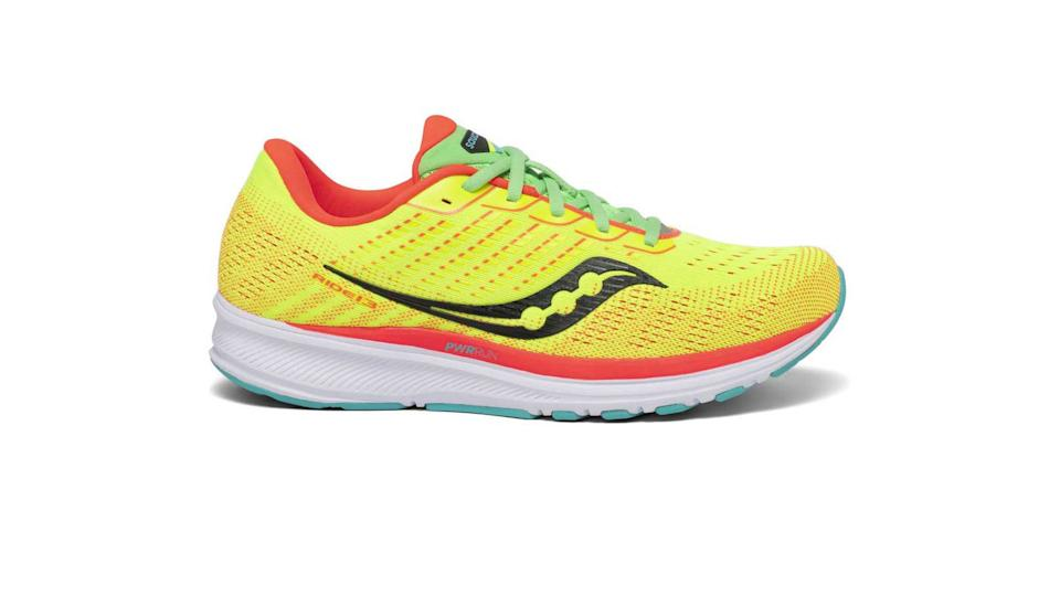 Saucony Ride 13 running shoes trainers yellow