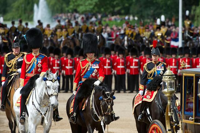 LONDON, ENGLAND - JUNE 15: Prince William, Duke of Cambridge, Prince Charles, Prince of Wales and Princess Anne, Princess Royal on horseback during the annual Trooping the Colour Ceremony on June 15, 2013 in London, England. Today's ceremony which marks the Queens official birthday will not be attended by Prince Philip the Duke of Edinburgh as he recuperates from abdominal surgery and will also be The Duchess of Cambridge's last public engagement before her baby is due to be born next month. (Photo by Bethany Clarke/Getty Images)